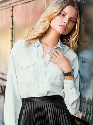 Victoria's Secret Chambray Embellished Shirt