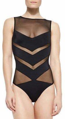 OYE Swimwear Shaw Solid/Mesh Striped One-Piece $350 thestylecure.com