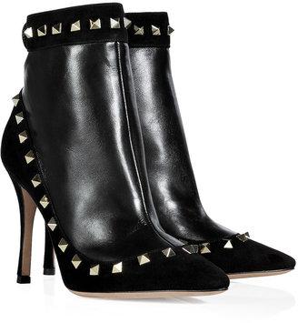 Valentino Black Leather Rockstud Ankle Boots