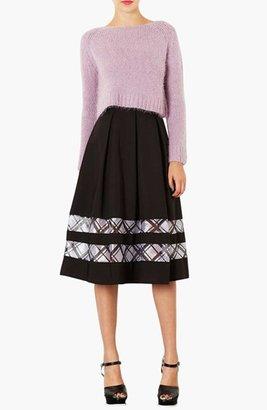 Topshop Organza Trim Midi Skirt