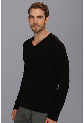 John Varvatos Collection Cashmere V-Neck Sweater w/ Elbow Patches