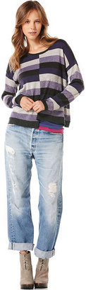 C&C California Asymmetric lurex stripe sweater