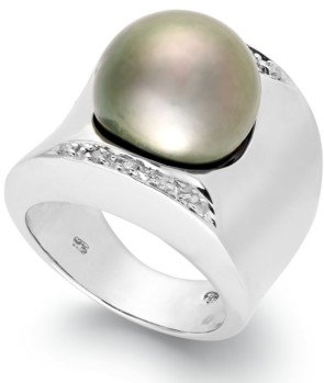 Macy's Tahitian Pearl (13mm) and Diamond (1/8 ct. t.w.) Ring in Sterling Silver