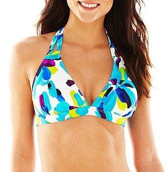 JCPenney Ocean Dreams® Soft Petals Multi-Loop Halter Swim Top