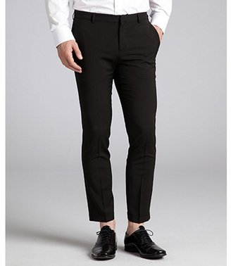 Prada black virgin wool flat front pants