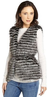 Greylin black and white 'Silvester' faux fur vest