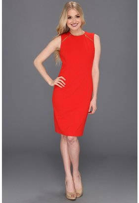 Calvin Klein Short Zipper Detailed Dress (Poppy) - Apparel