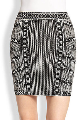 BCBGMAXAZRIA Josa Printed Stretch Jersey Mini Skirt