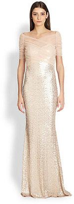 Badgley Mischka Tulle Crossover Sequin Gown