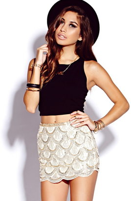 Forever 21 Sequined Georgette Mini Skirt