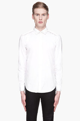 Diesel White and pale grey leather studded Sturbini Shirt
