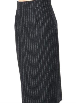 Oscar de la Renta Pinstripe wool-flannel skirt