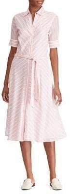 Lauren Ralph Lauren Striped Belted Fit--Flare Cotton Shirtdress