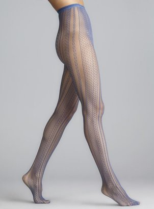Me Moi Memoi Moonlight Blue Optic Spiral Net Tights