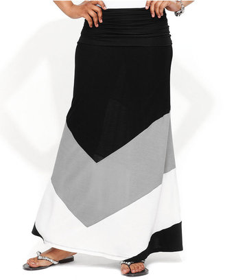 INC International Concepts Skirt, Convertible Colorblock Maxi