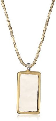 Yummi Glass 24k Gold-Painted Grey-Color Medium Rectangle Pendant Necklace