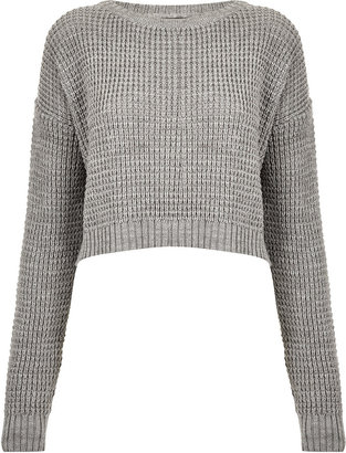 Topshop Knitted Textured Grunge Crop Jumper