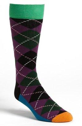 Happy Socks Argyle Patterned Combed Cotton Blend Socks