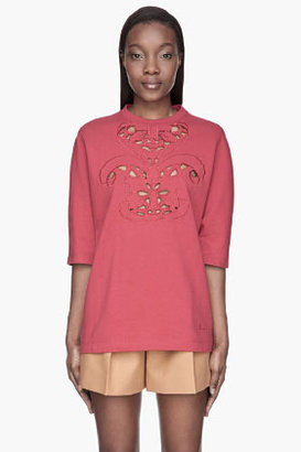 Carven Red Jersey Cut Out dolman sleeve shirt