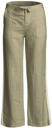 Relaxed Fit Pants with Side Stripe - Linen (For Women)