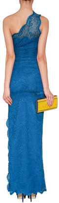 Emilio Pucci One Shoulder Lace Overlay Gown Ocean Blue