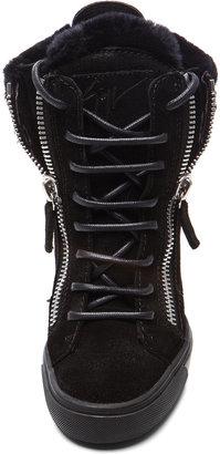Giuseppe Zanotti Suede High Top Shearling Wedge Sneaker in Black