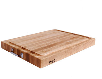 John Boos Maple Cutting Board with Stainless Steel Handles (18 x 24)