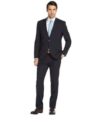 HUGO BOSS navy wool 'Grand Central' 2-button suit with flat front pants