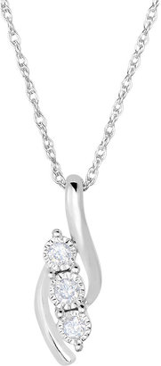 FINE JEWELRY TruMiracle 1/5 CT. T.W. Diamond Sterling Silver 3-Stone Pendant Necklace $208.32 thestylecure.com
