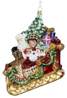 "Kurt Adler [h1 Polonaise Mr. & Mrs. Claus in Sleigh Ornament 5-1/2""[/h1]"