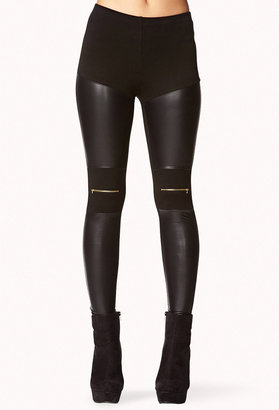 Forever 21 Faux Leather Zip Leggings