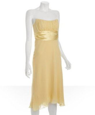 Nicole Miller pale yellow georgette banded strapless dress