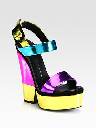 Giuseppe Zanotti Metallic Leather Trimmed Platform Sandals