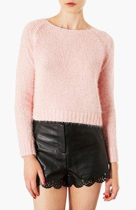 Topshop 'Monster' Fluffy Crop Sweater