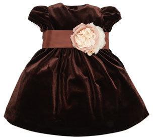 Ralph Lauren Velvet Silk Flower Dress, Chestnut Brown, 3-9 Months