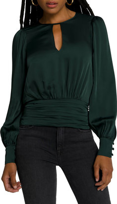 Good American Long-Sleeve Keyhole Blouse