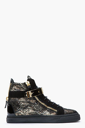 Giuseppe Zanotti Black and Gold Printed Python London Sneakers