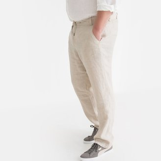 La Redoute Collections Plus Linen Trousers with Elasticated Waist, Length 33""