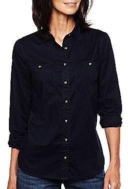 JCPenney jcpTM Long-Sleeve Voile Shirt