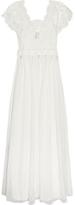 Sophia Kokosalaki - Tykhe Lace And Chiffon Gown - Off-white $3,820 thestylecure.com