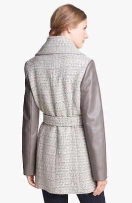 T Tahari 'Alba' Tweed & Faux Leather Coat (Online Only)