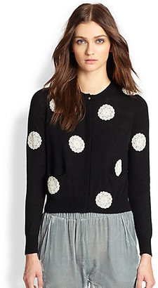 Band Of Outsiders Lace Polka Dot Cardigan