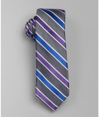 Ben Sherman purple and grey stripe print 'Deluca' silk tie