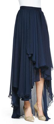 Alice + Olivia Andy High-Low Chiffon Maxi Skirt