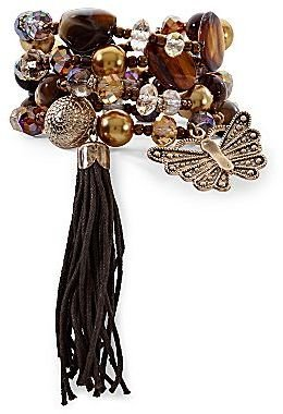 JCPenney Gold-Tone Butterfly Charm Beaded Stretch Tassel Bracelet