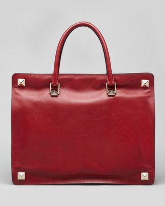 Valentino Rockstud-Corner Leather Tote Bag, Scarlet