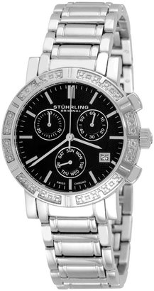 Stuhrling Original Women's 315L.12111 Regent Swiss Chronograph Diamond Black Dial Watch