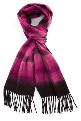 Nordstrom Plaid Dip Dye Woven Cashmere Scarf