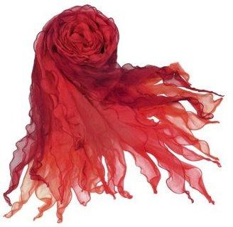 Basile Shaded Ruffled Silk Long Scarf