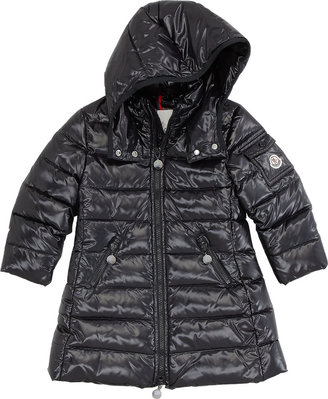 Moncler Girls' Long Moka Hooded Jacket, Black